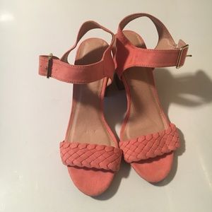 Charlotte russe coral pleated suede Heeled sandal